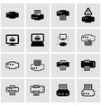 black printer icon set vector image vector image
