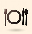 black silhouette icon - fork knife spoon vector image vector image