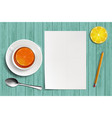 blank white sheet of paper on a table vector image