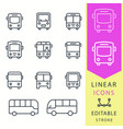 bus - line icon set editable stroke vector image