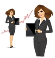 Business woman holding a tablet computer vector image vector image