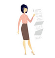 business woman presenting business report vector image vector image