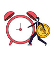 businessman holding coin dollar and alarm clock vector image vector image
