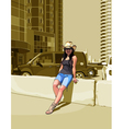cartoon woman in a cowboy hat among high rise vector image vector image