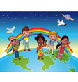Children on the world vector image vector image