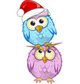 christmas group owl cartoon isolated on white vector image vector image