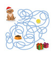 christmas way game help puppy pass maze vector image vector image
