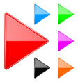 colored shiny 3d arrows play icons vector image vector image