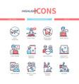 coronavirus disease - line design style icons set vector image vector image