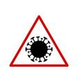 coronavirus molecule in a triangular sign vector image