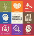 critical thinking concept with icons and signs vector image