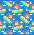 cute lion with a plane seamless pattern and card vector image vector image