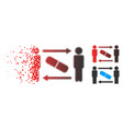 decomposed pixel halftone men pill exchange icon vector image vector image