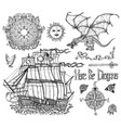 design set with sailing vessel dragon compass vector image vector image
