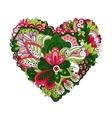 doodle summer flowers in heart shape vector image vector image