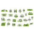 eco energy green leaf light bulb recycle icons vector image vector image