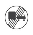 end of the prohibition of trucks sign vector image vector image