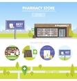 facade pharmacy in urban space sale of vector image vector image