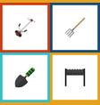 flat icon farm set of hay fork barbecue trowel vector image vector image