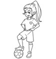 football girl standing line art vector image vector image