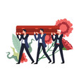 funeral ceremony people carrying wooden coffin vector image vector image