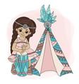girl wigwam pocahontas indian princess illu vector image