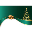 green christmas background with golden bow vector image vector image