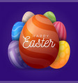 greeting card easter eggs a large egg in the vector image
