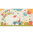 happy birthday card with giraffe vector image vector image
