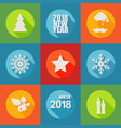 happy new year 2018 flat icons set with berry vector image vector image
