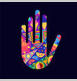 human hand with colorful abstract decoration vector image vector image