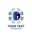initial letter g logo template colored blue grey vector image