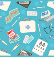 medical supplies seamless pattern doctors tools vector image