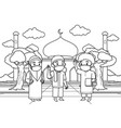 muslim children wave to each other vector image