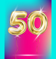 number fifty gold foil balloon on gradient vector image vector image