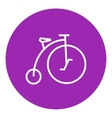 Old bicycle with big wheel line icon vector image vector image