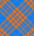 orange and blue tartan diagonal seamless vector image vector image