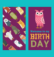 owl banner and pattern vector image vector image