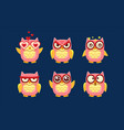 owls characters set cute birds with various vector image vector image