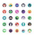 sea life and animals flat icons vector image vector image