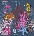 seamless pattern with ocean marine life clown vector image vector image