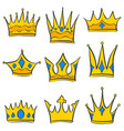 set of gold crown collection vector image vector image
