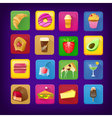 Set of icons with food and drinks for restaurant