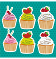 set of stickers cupcakes seed color and chocolate vector image vector image