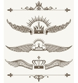 set royal winged crowns design elements vector image
