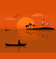 silhouette of a fishing man on a small boat vector image