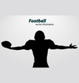 silhouette of a football player rugby american vector image vector image