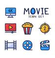 simple set cinema related cartoon outline vector image