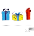 Sketch of Three Gift Boxes With Bows Isolated On vector image vector image