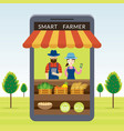 smart farmer with online shop or store concept vector image vector image